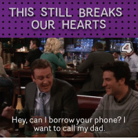 Marshall improvises this scene, and it makes it that much more sad. So hard to watch. #HIMYM https://t.co/UEChaT7mhU: THIS STILL BREAKS  OUR HEARTS  Hey, can I borrow your phone? l  want to call my dad Marshall improvises this scene, and it makes it that much more sad. So hard to watch. #HIMYM https://t.co/UEChaT7mhU