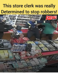 This spectacular security camera footage shows a Calgary store clerk fending off two thieves. - FULL VIDEO AND STORY AT PMWHIPHOP.COM LINK IN BIO: This store clerk was really  Determined to stop robbers!  pmuu  9  HIPHOP This spectacular security camera footage shows a Calgary store clerk fending off two thieves. - FULL VIDEO AND STORY AT PMWHIPHOP.COM LINK IN BIO