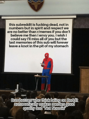 "Fucking, Memes, and Reddit: this subreddit is fucking dead, not in  numbers but in spirit and respect we  are no better than r/memes if you don't  believe me then l envy you. I wish I  could say l'll miss all of you but the  last memories of this sub will forever  leave a knot in the pit of my stomach  Dumbasses who think being on Reddit  automatically makes memes good  quality and ""Not Normie Me_irl"