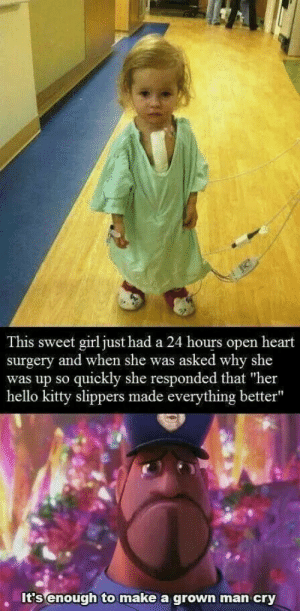 "Hello, Hello Kitty, and Girl: This sweet girl just had a 24 hours open heart  surgery and when she was asked why she  was up so quickly she responded that ""her  hello kitty slippers made everything better""  It's enough to make a grown man cry Hello KITTY makes everything better 💕"