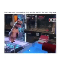 Memes, Ninja, and Warriors: this t-rex went on american ninja warrior and it's the best thing ever  00:00.0  IG: @5829 How is this possible 🤔🤔😂😂 Via @viralcypher americanninjawarrior