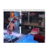 Funny, Ninja, and Warriors: this t-rex went on american ninja warrior and it's the best thing ever  00:00.0  IG: @5829 The neck always gets me lmfao 😂 😂