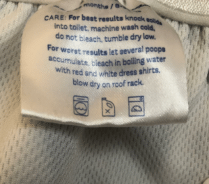 This tag on my daughter's reusable swim diaper.: This tag on my daughter's reusable swim diaper.