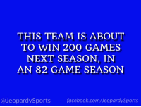 """Who are: the Golden State Warriors?"" #JeopardySports #Warriors https://t.co/1d2hzs2G4O: THIS TEAM IS ABOUT  TO WIN 200 GAMES  NEXT SEASON, IN  AN 82 GAME SEASON  @JeopardySportsfacebook.com/JeopardySports ""Who are: the Golden State Warriors?"" #JeopardySports #Warriors https://t.co/1d2hzs2G4O"