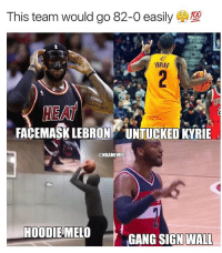 facts 😂 that kyrie getting a 95 2k rating lmao nba nbamemes wall lebron melo kyrieirving: This team would go 82-0 easily  (a)  RVING  HE AT  FACEMASK LEBRON UNTUCKED KYRIE  @NBAMEMES  HOODIEMELO  GANG SIGN WALL facts 😂 that kyrie getting a 95 2k rating lmao nba nbamemes wall lebron melo kyrieirving