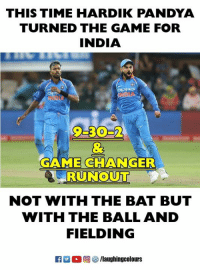 #HardikPandya #IndVsSA: THIS TIME HARDIK PANDYA  TURNED THE GAME FOR  INDIA  9-30-2  GAME CHANGER  0  NOT WITH THE BAT BUT  WITH THE BALL AND  FIELDING #HardikPandya #IndVsSA