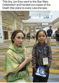 Death Star, Memes, and Saw: This tiny Jyn Erso went to the Star Wars  Celebration and handed out copies of the  Death Star plans to every Leia she saw.