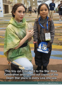 Death Star, Saw, and Star Wars: This tiny Jyn Erso went to the Star Wars  Celebration and handed out copies of the  Death Star plans to every Leia she saw  More laughs at FUNSubstance.com <p>The spirit of StarWars</p>