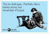 funnypicturesforyou:  Funny Pictures Today -: This to shall pass... Painfully, like a  kidney stone, but  remember it'll pass!  your e  cards  someecards.com funnypicturesforyou:  Funny Pictures Today -