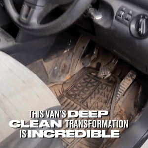 By the time he'd finished it didn't even look like the same car! 😳👏🏻: THIS VAN'S DEEP  CLEAN TRANSFORMATION  ISINCRED BLE By the time he'd finished it didn't even look like the same car! 😳👏🏻