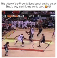 Funny, Nba, and Phoenix Suns: This video of the Phoenix Suns bench getting out of  Shaq's way is still funny to this day.  5 😭😭😂😂