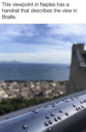 Memes, The View, and 🤖: This viewpoint in Naples has a  handrail that describes the view in  Braille. https://t.co/8dvOx1zgMx