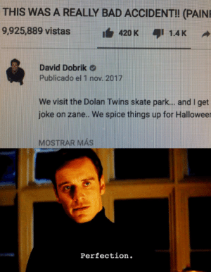 Bad, Reddit, and Twins: THIS WAS A REALLY BAD ACCIDENT!! (PAIN  9,925,889 vistas  i420 K  I 1.4K  David Dobrik  Publicado el 1 nov. 2017  We visit the Dolan Twins skate park... and I get  joke on zane.. We spice things up for Halloweer  MOSTRAR MAS  Perfection. Society reaches new levels