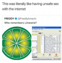 Bling, Internet, and Sex: This was literally like having unsafe sex  with the internet  FREDDY @FreddyAmazin  Who remembers Limewire?  bling Open idormaton Sharing  Morn  Nane  526  Techno Abe&  4044  te) 😂😂😂🤣🤣