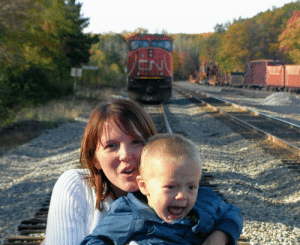 This was supposed to be a cute photo op of my wife and son at the train yard.: This was supposed to be a cute photo op of my wife and son at the train yard.