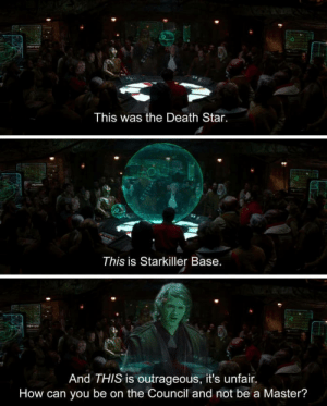 Hello there by greenliquorbottles FOLLOW 4 MORE MEMES.: This was the Death Star.  This is Starkiller Base.  And THIS is outrageous, it's unfair  How can you be on the Council and not be a Master? Hello there by greenliquorbottles FOLLOW 4 MORE MEMES.