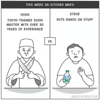 Memes, Yoshi, and Chef: THIS WEEK ON KITCHEN WARS:  STEVE  YOSHI  TOKYO-TRAINED SUSHI  MASTER WITH OVER 30  YEARS OF EXPERIENCE  PUTS RANCH ON STUFF  VS.  DUSTINTERACTIVE Steve the Chef