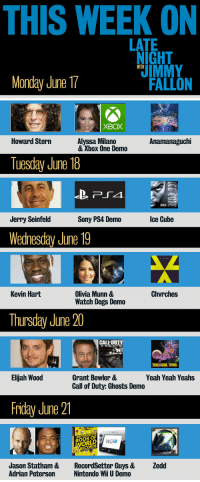 <p>Con: It&rsquo;s a Monday. Pro: It&rsquo;s also the first day of LNJF Video Game Week! Here&rsquo;s what we&rsquo;ve got in store for the next five days.</p>: THIS WEEK ON  LATE  NIGHT  IMMY  WITH  Monday June 17  FALLON  XBOX  Howard Stern  Alyssa Milano  & Xbox One Demo  Anamanaguchi  Tuesday June 18  Jerry Seinfeld  Sony PS4 Demo  Ice Cube  Wednesday June 19  Chvrches  Olivia Munn &  Watch Dogs Demo  Kevin Hart  Thursday June 20  ld  Elijah Wood  Grant Bowler &  Call of Duty: Ghosts Demo  Yeah Yeah Yeahs  Friday June 21  BOOK OF  Wiiu  Jason Statham &  Adrian Peterson  RecordSetter Guys &  Nintendo Wii U Demo  Zedd <p>Con: It&rsquo;s a Monday. Pro: It&rsquo;s also the first day of LNJF Video Game Week! Here&rsquo;s what we&rsquo;ve got in store for the next five days.</p>