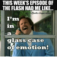 Too Much, Iris, and Justice League: THIS WEEK'S EPISODE OF  THE FLASH HAD ME LIKE  ustice league memss  'm  glass case  ofenotion Moments with his mom and with Iris in one episode — too much emotion to handle -Nightwing