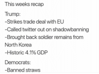 Memes, North Korea, and Twitter: This weeks recap  Trump:  -Strikes trade deal with EU  -Called twitter out on shadowbanning  Brought back soldier remains from  North Korea  Historic 41% GDP  Democrats:  -Banned straws Ha!