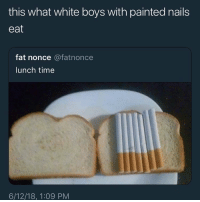 Funny, Nails, and Time: this what white boys with painted nails  eat  fat nonce @fatnonce  lunch time  6/12/18, 1:09 PM Niggas with eye liner and painted nails that wear chokers