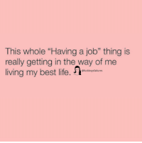 "Life, Best, and Girl Memes: This whole ""Having a job"" thing is  really getting in the way of me  living my best life. ofuckbogtfilurer"