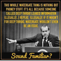 Deep Throat, Information, and Stuff: THIS WHOLE WATERGATE THING IS NOTHING BUT  PHONEY STUFF ITS ALL BECAUSE SOMEONE  CALLED DEEP THROAT LEAKED INFORMATION  ILLEGALLY REPEAT ILLEGALLY IF IT WASNT  FOR DEEP THROAT WATERGATE WOULDN'T EVEN  BE AN ISSUE.  Sound Familiar? We've seen this before...