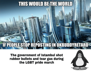 Please stop repost It makes me sad :(: THIS WOULD BE THE WORLD  w  IF PEOPLESTOP REPOSTING IN OKBUDDYRETARD  ulcataclvsmiesheen  The government of Istambul shot  rubber bullets and tear gas during  the LGBT pride march Please stop repost It makes me sad :(