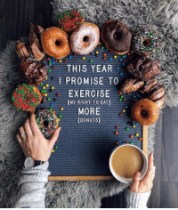Donuts, Exercise, and More: THIS YEAR  I PROMISE TO  EXERCISE  (MY RIGHT TO EAT)  MORE  (DONUTS)