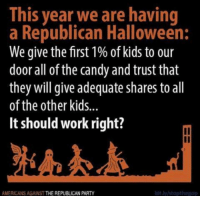 Candy, Halloween, and Party: This year we are having  a Republican Halloween:  We give the first 1% of kids to our  door all of the candy and trust that  they will give adequate shares to all  of the other kids...  It should work right?  il  AMERICANS AGAINST THE REPUBLICAN PARTY  bit.ly/stopthegop