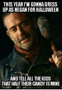 Who's watching tonight?: THIS YEARIM GONNADRESS  UP AS NEGAN FOR HALLOWEEN  ANDTELLALL THEKIDS  THAT HALFTHEIR CANDY IS MINE Who's watching tonight?
