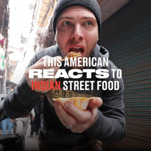 This guy went to India and tried some of the most traditional and wacky street foods on the market. He got a real taste of the local culture here 👀😮: THISAMERICAN  REACTSTO  INDTAN STREET FOOD  HUS  H This guy went to India and tried some of the most traditional and wacky street foods on the market. He got a real taste of the local culture here 👀😮