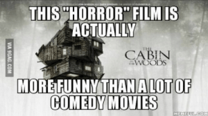 """terror movies these days: THIS""""HORROR"""" FILM IS  ACTUALLY  is  CABIN  WOODS  MOREFUNNYTHAN  ALOT OF  MEMER terror movies these days"""