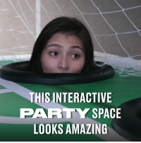 Dank, Party, and Mole: THISINTERACTIVE  PARTY SPACE  LOOKS AMAZING The human whack-a-mole looks amazing. I need a party here! 😂😂  Party Room