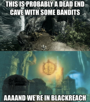 Skyrim, Best, and Cave: THISIS PROBABLY A DEAD END  CAVE WITH SOME BANDITS  AAAAND WE'RE IN BLACKREACH Skyrim at its Best