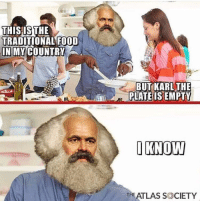 """Dank, Food, and Meme: THISIS THE  TRADITIONAL FOOD  İNIMY COUNTRY  BUT KARL THE  PLATE IS EMPTY  THE ATLAS SOCIETY <p>On you Marx , get set…..starve via /r/dank_meme <a href=""""https://ift.tt/2ssv2Wh"""">https://ift.tt/2ssv2Wh</a></p>"""