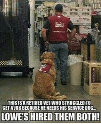 Memes, Lowes, and Awesome: THISISA RETIRED VET WHO STRUGGLED TO  GET AJOB BECAUSE HE NEEDS HIS SERVICE DOG.  LOWE'S HIRED THEM BOTH! This is awesome!! 😍