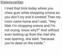 "Crying, Memes, and Not Crying: thisismyveritas:  I tried that trick today where you  chew gum while chopping onions so  you don't cry and it worked! Then my  mom came home and I said, ""Hey  Mah I'm chopping onions and I'm  not crying, know why"" And without  even looking up from the mail she  was opening, she said: ""because  you're dead on the inside."" https://t.co/wG4n2G8Op0"