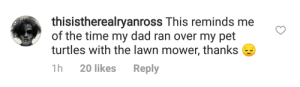 Alive, Dad, and Family: thisistherealryanross This reminds me  of the time my dad ran over my pet  turtles with the lawn mower, thanks  1h 20 likes Reply cracked-the-family-tree:  proof-ryan-ross-is-alive:  June 17, 2018