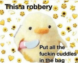 All The, All, and Now: Thista robbery  Put all the  fuckin cuddles  in the bag Plz do it now