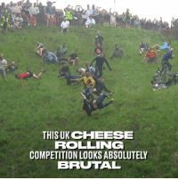 Dank, Best, and 🤖: THISUKCHEESE  ROLLING  COMPETITION LOOKS ABSOLUTELY  BRUTAL Some of the best and brutal wipeouts from the annual Gloucester cheese rolling championships 😱😂