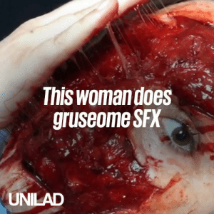 Dank, 🤖, and Sfx: Thiswomandoes  gruseome SFX  UNILAD This woman does gruesome SFX and it's scarily realistic 😲😰