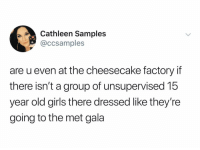 Girls, Dank Memes, and Old: thleen Samples  @ccsamples  are u even at the cheesecake factory if  there isn't a group of unsupervised 15  year old girls there dressed like they're  going to the met gala @ccsamples
