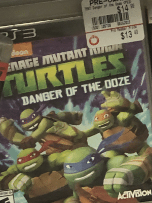 Just a kids sexual health campaign!: THNT Danger of the Ooan CPS3)  %2414.99  っ了ヨ  $30 105728 0e162019  deon  821  $13 49  T  ERAGE MUTANT  TURTLES  DANGER OF THE DOZE  RYCKE 10  ACTIVISION Just a kids sexual health campaign!