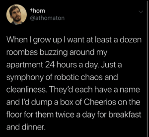 Cheerios, Breakfast, and Irl: thom  @athomaton  When I grow upl want at least a dozen  roombas buzzing around my  apartment 24 hours a day. Just a  symphony of robotic chaos and  cleanliness. They'd each have a name  and I'd dump a box of Cheerios on the  floor for them twice a day for breakfast  and dinner. me_irl