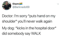 Dank, Doctor, and Sorry: thom  @Barknado69  Doctor: I'm sorry *puts hand on my  shoulder* you'll never walk again  My dog: *kicks in the hospital door*  did somebody say WALK
