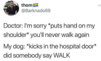 Doctor, Sorry, and Hospital: thom  @Barknado69  Doctor: I'm sorry *puts hand on my  shoulder* you'll never walk again  My dog: *kicks in the hospital door*  did somebody say WALK Meirl