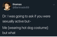 MeIRL, Thomas, and Ask: thomas  @Barknado69  Dr: I was going to ask if you were  sexually active but-  Me [wearing hot dog costume]:  but what Meirl