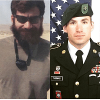 Memes, Army, and Afghanistan: THOMAS Never forget Army Green Beret Staff Sgt. Adam S. Thomas who was killed by an IED 1 year ago in Afghanistan. Thomas was on his third deployment and had deployed to both Iraq and Afghanistan. His awards include the Bronze Star Medal and the Purple Heart Medal. https://t.co/QzoM6fk3XK