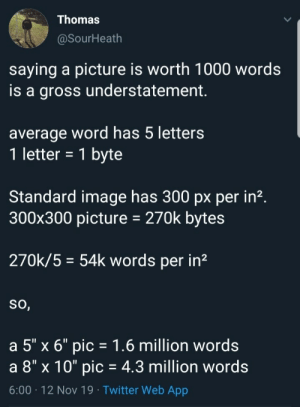 "Tommy got no chill: Thomas  @SourHeath  saying a picture is worth 1000 words  is a gross understatement  average word has 5 letters  1 letter = 1 byte  Standard image has 300 px per in2.  300x300 picture  270k bytes  270k/5 54k words per in2  So,  a 5"" x 6"" pic 1.6 million words  a 8"" x 10"" pic = 4.3 million words  6:00 12 Nov 19 Twitter Web App Tommy got no chill"